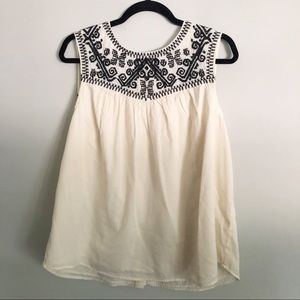 Lucky Brand Aztec button back embroidered tank top